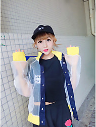 Women's Casual/Daily Simple Summer Cloak/Capes,Color Block Stand Long Sleeve White Nylon Translucent