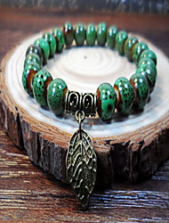 Women Alloy Silver Leaf Strand Bracelets