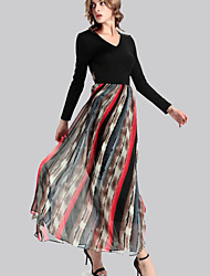 Women's Casual/Daily Simple Swing Dress,Patchwork V Neck Maxi Long Sleeve Black Polyester Fall / Winter