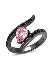 Wholesale Women Rose Pink Water Drop Stainless Steel Ring IP Light Black Top Grade Cubic Zirconia Red