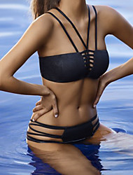 Bikinis Aux femmes Croisé Bandeau Polyester