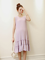 Maternity Casual/Daily Simple Loose Dress,Solid Round Neck Midi Sleeveless Purple Cotton Summer