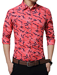 Men's Fashion Design Print Slim Fit Business Long Sleeved Shirt; Cotton/Plus Size/Dress