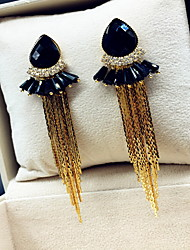 Korean Women Alloy Silver Tassels Hoop Earrings