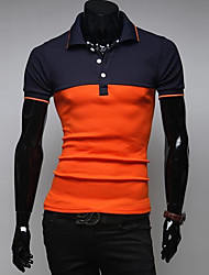 Men's Short Sleeve Polo,Cotton Casual / Sport Patchwork