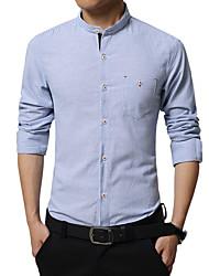 Men's Striped Casual / Work / Formal / Sport Shirt,Cotton Long Sleeve Blue / Gray