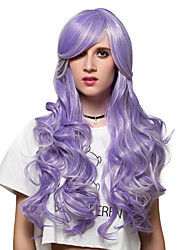 Purple streaked white long curly hair, fashion wigs.