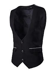 Masculino Blazer Formal / Tamanhos Grandes Color Block Sem Manga Algodão / Elastano Preto