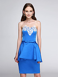2017 TS Couture® Prom Cocktail Party Dress Sheath / Column Strapless Short / Mini Stretch Satin with Appliques