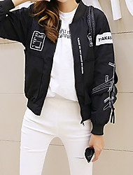 Women's Going out / Casual/Daily Vintage Spring Jackets,Print Stand Long Sleeve Black / Gray Polyester Medium