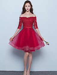 Short / Mini Tulle Lace-up Bridesmaid Dress - A-line Off-the-shoulder with Sash / Ribbon