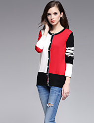 Normal Cardigan Vintage simple Mignon,Couleur Pleine Rouge Blanc Noir Col Arrondi Manches Longues Coton Printemps Automne Moyen