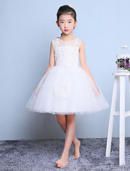 A-line Short / Mini Flower Girl Dress - Tulle Sleeveless Jewel with Appliques