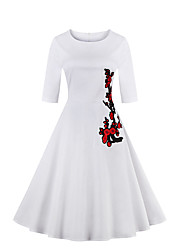 Women's Plus Size Vintage Sheath Dress,Embroidered Round Neck Knee-length ½ Length Sleeve Summer