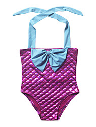 Girl's Beach Color Block Swimwear,Polyester Summer Blue / Red
