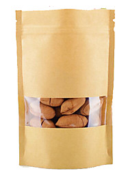 Kraft Paper Food Bags 14 * 20 Window Kraft Paper Bag Of Dried Fruit Candy Bags Wholesale Spot A Pack Of Ten