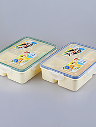 Dinner Set 4 Compartment Food Lunch Boxes Plastic Bento Lunch Set 800ml