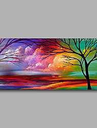 Stretched (Ready to hang) Hand-Painted Oil Painting 100cmx50cm Canvas Wall Art Modern Abstract Purple Green