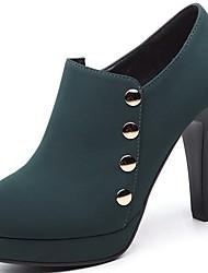 Черный / Зеленый-Женский-Для офиса / Для вечеринки / ужина-Мех-На толстом каблуке-На каблуках-Обувь на каблуках