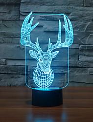 alces touch oscurecimiento 3d llevó la luz de la noche de la lámpara de la decoración ambiente 7colorful de iluminación novedoso luz de la