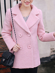Women's Going out Street chic Coat,Solid Shirt Collar Long Sleeve Fall / Winter Pink Wool Thick