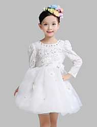 A-line Knee-length Flower Girl Dress - Cotton / Lace / Organza Long Sleeve Jewel with Appliques / Crystal Detailing