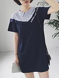 Women's Going out /  Shirt Dress,Patchwork / Embroidered Shirt Collar Above Knee Short Sleeve Blue Cotton Summer