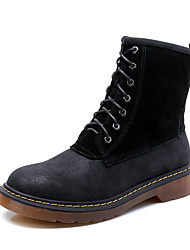 Women's Boots Winter Combat Boots / Round Toe  Leather Dress Low Heel  Black / Yellow / Gray Walking