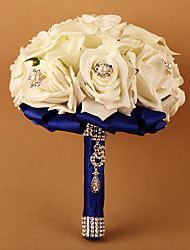 Fleurs de mariage Rond Roses Bouquets Cérémonie de mariage Polyester Env.22cm