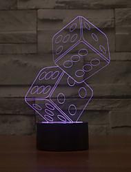 par de dados touch oscurecimiento 3d llevó la luz de la noche de la lámpara de la decoración ambiente 7colorful de iluminación novedoso