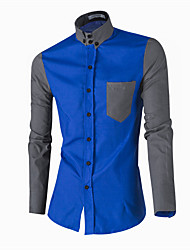 Men's Patchwork Casual / Formal Shirt,Cotton Long Sleeve Blue / White / Beige