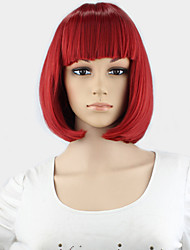 Short  Wig dull-red Perruque Naturelle Courte Synthetic Women Cute Fringe Straight Bob Cosplay Wig Heat Resistant Hair