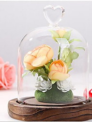 Floral Micro Landscape Simulation Immortalized Flower with Glass Cover Set Decoration