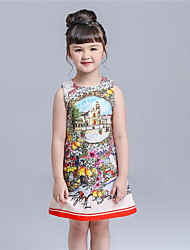 KIMOCAT Girl's Casual/Daily Print Dress,Cotton Summer Red