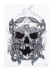 1pc Skull Bone Tattoo Peacock Feather Design Waterproof Temporary Women Men Body Art Tattoo Sticker Gift HB-372