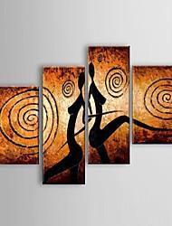 Pintados à mão Abstracto / Paisagem / Vida Imóvel / Fantasia / Transparente Pinturas a óleo,Modern / Clássico / Estilo Europeu 4 Painéis