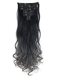Two Tone Ombre Hair Clip in Hair Extensions 7Pcs 130g Body Wavy Dip Dye Clip In Hair Extensions Black to Dark Grey Hair