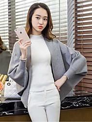 Damen Standard Mantel / Capes-Lässig/Alltäglich Einfach Solide Rot / Schwarz / Braun / Grau Tiefes V Langarm Wolle / BaumwolleFrühling /