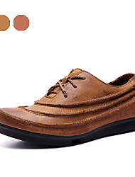 Men's Shoes Office & Career / Party & Evening / Casual Leather Oxfords Brown / Khaki(Manual manufacture)