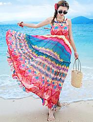 Women's Beach / Holiday Boho Chiffon Dress,Print Strap Maxi Sleeveless Red Polyester Summer