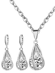 May Polly  Simple zircon Drop Necklace Earrings Set