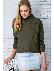 Women's Casual/Daily Street chic Regular Pullover,Solid Green Turtleneck Long Sleeve Polyester Winter Thin