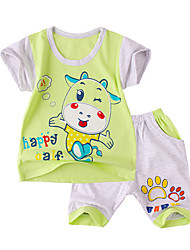 Baby Casual/Daily Print Clothing Set-Cotton-Summer-Blue / Green / Yellow / Gray