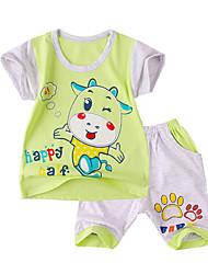 малыш Набор одежды-На каждый день,С принтом,Хлопок,Лето-Синий / Зеленый / Желтый / Серый