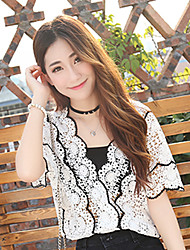 Women's Casual/Daily Simple Summer Set,Embroidered V Neck ½ Length Sleeve White Cotton Medium
