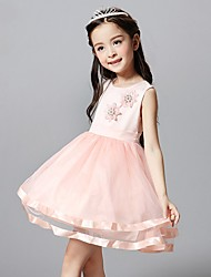 A-line Short / Mini Flower Girl Dress - Tulle Jewel with Appliques