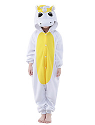 kigurumi Pyjamas New Cosplay® Unicorn Collant/Combinaison Fête / Célébration Pyjamas Animale Halloween Bleu Jaune Couleur Pleine Polaire