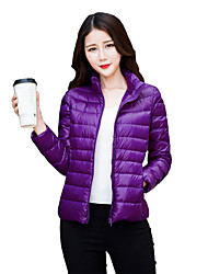 Women's Winter Solid Portable Light Down Coat Jacket,Simple / Street chic / Active Stand Collar Long Sleeve