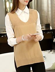 Damen Standard Pullover-Lässig/Alltäglich Einfach Solide Rosa / Schwarz / Grau V-Ausschnitt Ärmellos Kaninchen-Pelz Sommer Mittel