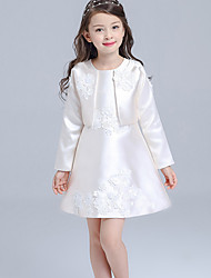 A-line Knee-length Flower Girl Dress - Satin Long Sleeve Jewel with Appliques